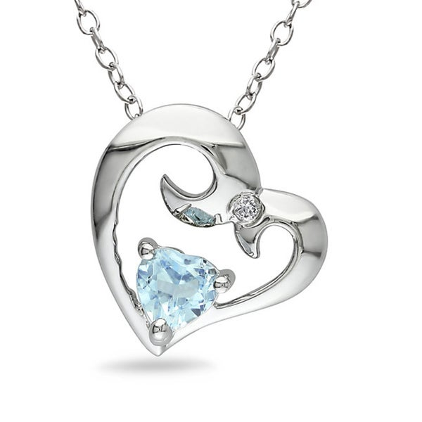 M by Miadora Sterling Silver 1/3ct TGW Blue Topaz and Diamond Heart Necklace