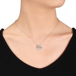 Miadora Sterling Silver 1/3ct TGW Blue Topaz and Diamond Heart Necklace