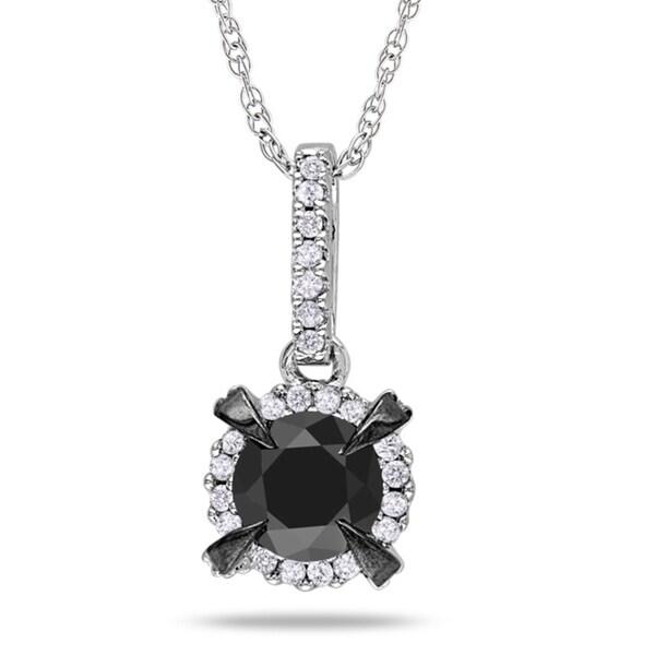 Miadora 10k White Gold 1ct TDW Black and White Diamond Necklace (G-H, I2-I3)