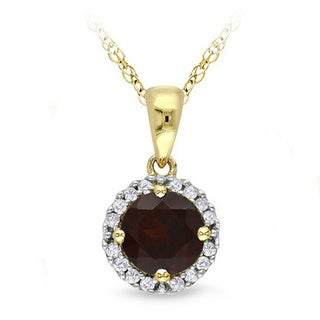 Miadora 10k Yellow Gold 3/4 to 1 CT TGW Gemstone & Diamond Pendant