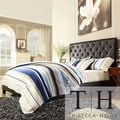 TRIBECCA HOME Sophie Dark Brown Vinyl Tufted King-size Platform Bed