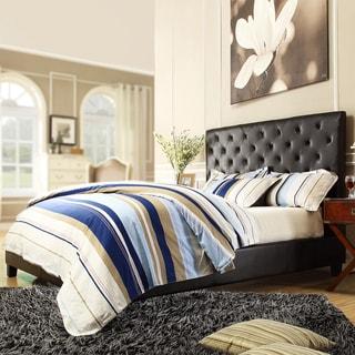 TRIBECCA HOME Sophie Dark Brown Bonded Leather Tufted King-sized Upholstered Platform Bed