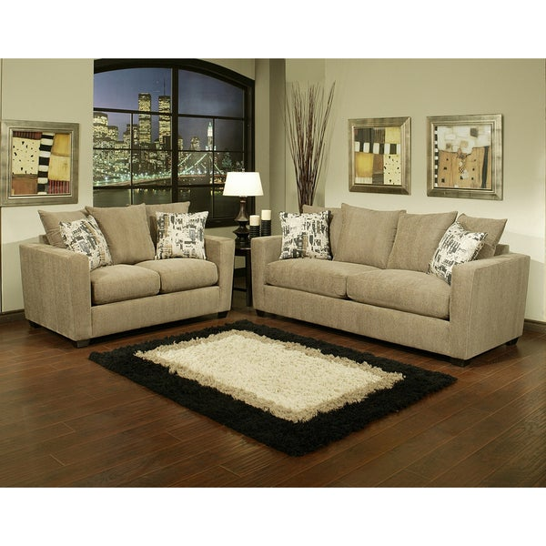 Furniture of America Alexa 2-piece Chenille Fabric Sofa and Loveseat Set