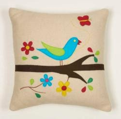 Pretty Bird Decorative Wool Pillow