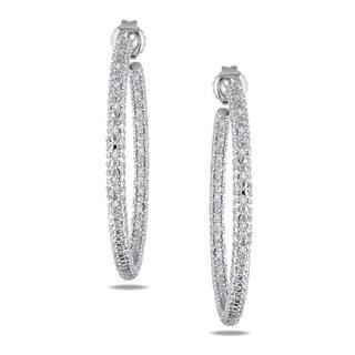 Miadora Sterling Silver 1/2ct TDW Diamond Hoop Earrings (G-H, I2-I3)