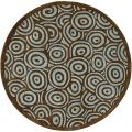 Hand-tufted Contemporary Blue/Brown Circles Celestial New Zealand Wool Abstract Rug (8' Round)