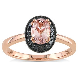 Miadora 10k Pink Gold Morganite and 1/10ct TDW Black Diamond Ring