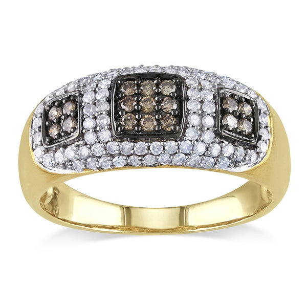 Miadora 10k Yellow Gold 1/2ct TDW Brown and White Diamond Ring (G-H, I2-I3)