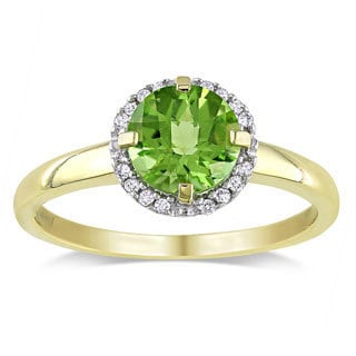 10k Yellow Gold Peridot and Diamond Accent Ring