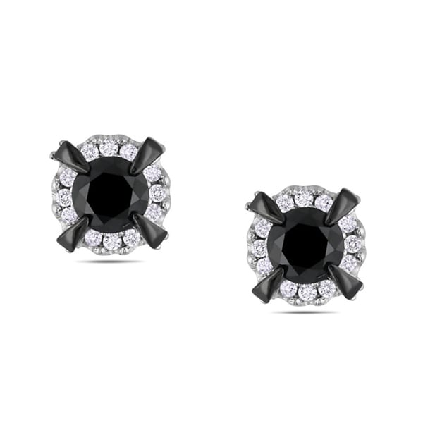 Miadora 10k White Gold 1ct TDW Black and White Diamond Halo Earrings(G-H, I2-I3)