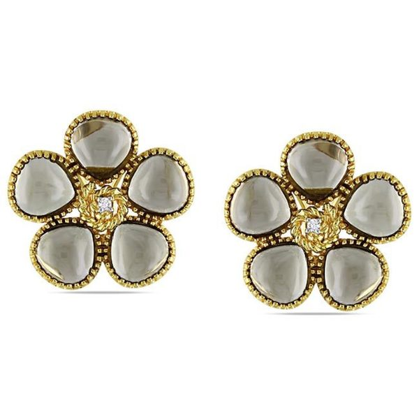 Miadora Silver Smokey Quartz and Diamond Accent Earrings (G-H, I3)