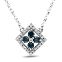 Miadora 10k White Gold 1/2ct Blue and White Diamond Necklace (G-H,I1-2)