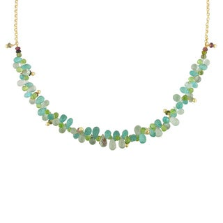 Miadora Signature Collection 14k Yellow Gold Peridot, Amethyst and Apatite Necklace