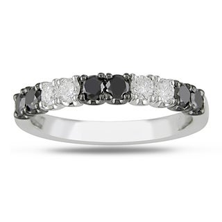 Miadora 18k White Gold 3/4ct TDW Black and White Diamond Ring (H-I, SI1-SI2)