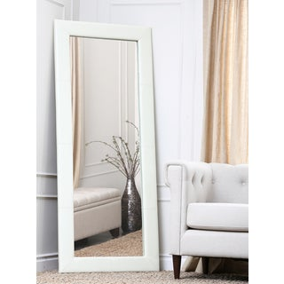 Abbyson Living Delano Ivory Leather Floor Mirror