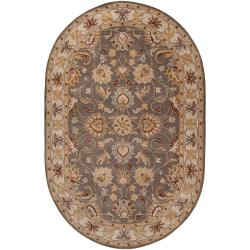Hand-tufted Hida Gray Traditional Border Wool Rug (6' x 9' Oval)