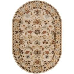 Hand-tufted Traditional Karakoram Vanilla Floral Border Wool Rug (6' x 9' Oval)