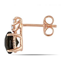 Miadora Pink Silver 3 ct TGW Smokey Quartz 0.03 ct TDW Earrings (G-H)