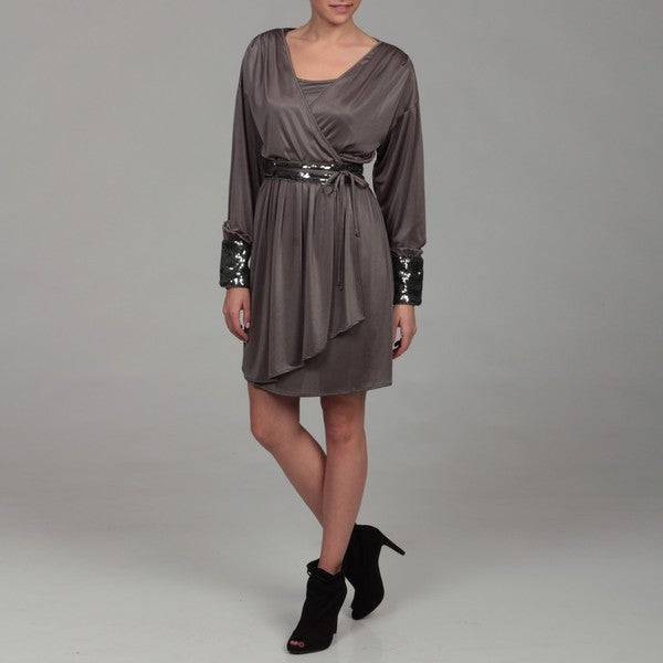 Miss Sixty Women's Gunmetal Sequin Dress