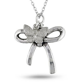 M by Miadora White Brass with Hanging Butterfly Charm Bow Pendant