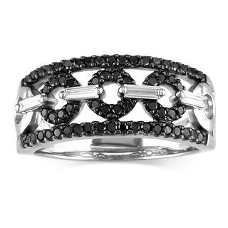 Miadora 14K White Gold 1/2 ct TDW Black/White Diamond Ring (G-H, I1-I2)
