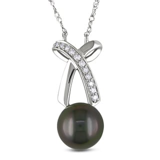Miadora 14k White Gold 1/10ct TDW Diamond and Tahitian Black Pearl Necklace (8-8.5 mm)(G-H, I1-I2)