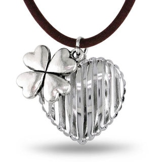 M by Miadora White Brass Cord Hanging Flower Charm Heart Necklace