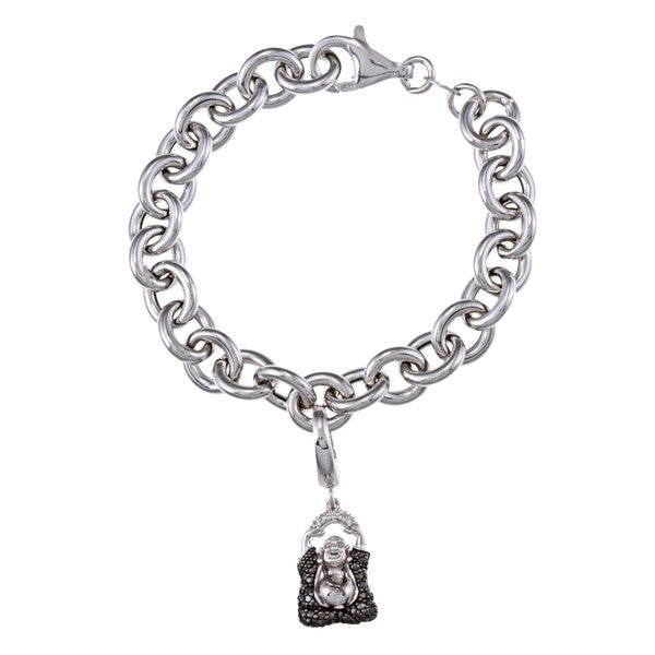Sterling Silver Black Diamond Buddha Charm Bracelet