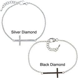Sterling Silver 1/8ct TDW Diamond Cross Bracelet