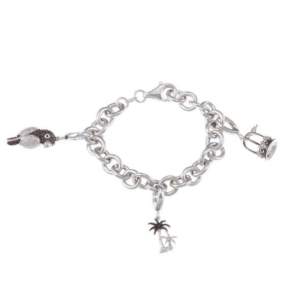 Silver 1/10ct TDW Black and White Diamond Bird Charm Bracelet (J, I2-I3) 8551540