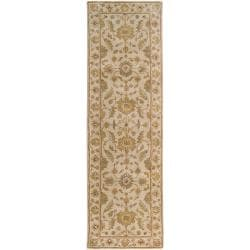 Hand-tufted Pennine Ivory Floral Border Wool Rug (3' x 12')