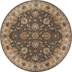 Hand-tufted HidaGray Traditional Border Wool Rug (6' Round)