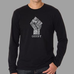 Los Angeles Pop Art Men's Occupy Wall Street Fight The Power Fist Long Sleeves Shirt