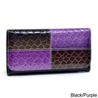 Dasein Faux-Leather Embossed Top-Flap Snake-Skin Checkbook Wallet