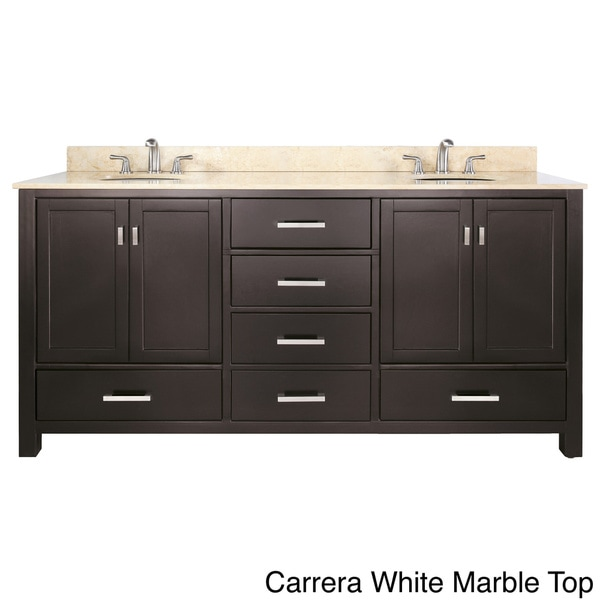 Avanity Modero 72-inch Double Vanity in Espresso Finish with Dual Sinks and Top