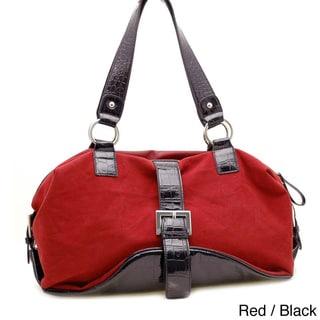 Dasein Faux Suede Croco Trim Buckled Shoulder Bag