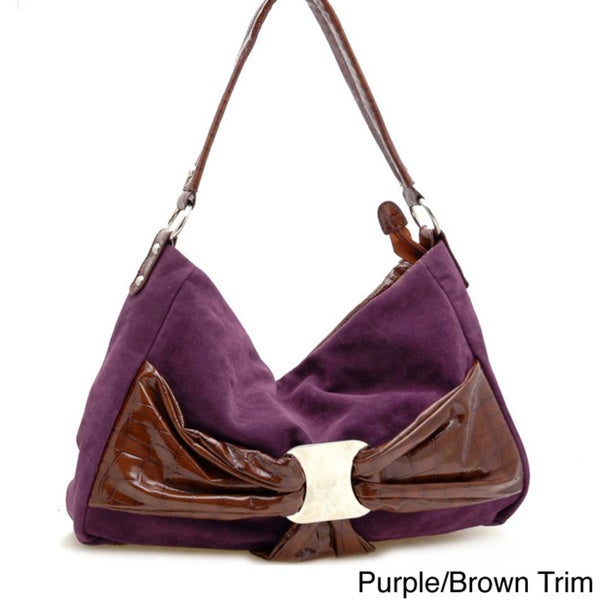 Dasein Faux Suede Croco Bow Hobo Bag