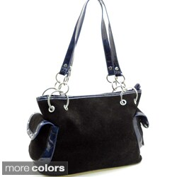 Dasein Faux Suede Chain Accent Shoulder Bag