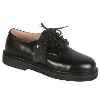 Rockman Men's Black Leather Lace-up Oxford Work Shoes