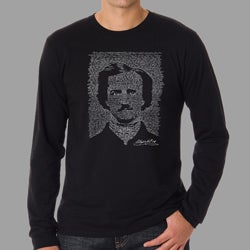 Los Angeles Pop Art Men's Edgar Allen Poe The Raven Long Sleeves Shirt