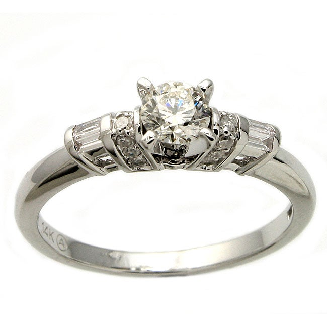 Beverly Hills Charm 14k White Gold 1/2ct TDW Diamond Side-Stone Engagement Ring (H-I, I1)