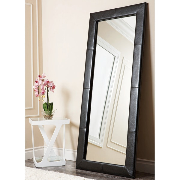 ABBYSON LIVING Delano Black Leather Floor Mirror