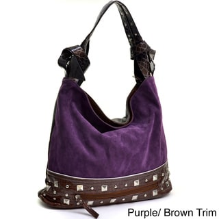 Dasein Faux-suede Croco-embossed Studded Hobo Bag with Zipper Top
