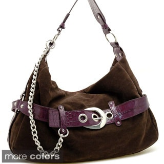 Dasein Women's Faux-suede Croco-embossed-belt Hobo Bag with Chain