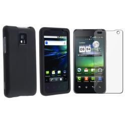 INSTEN Black Snap-on Rubber Coated Phone Case Cover/ Screen Protector for LG G2X