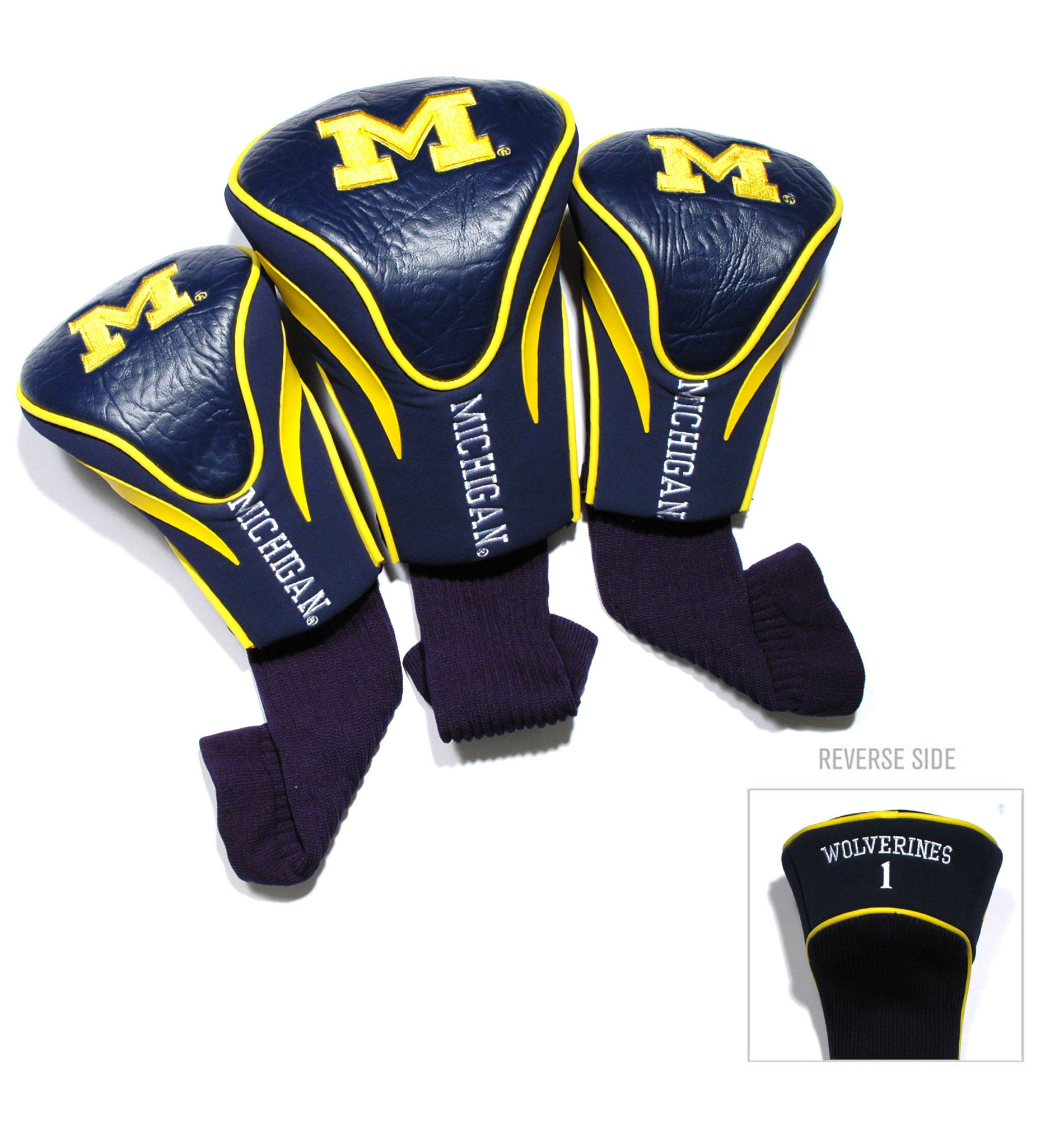 Michigan Wolverines NCAA Contour Wood Headcover Set