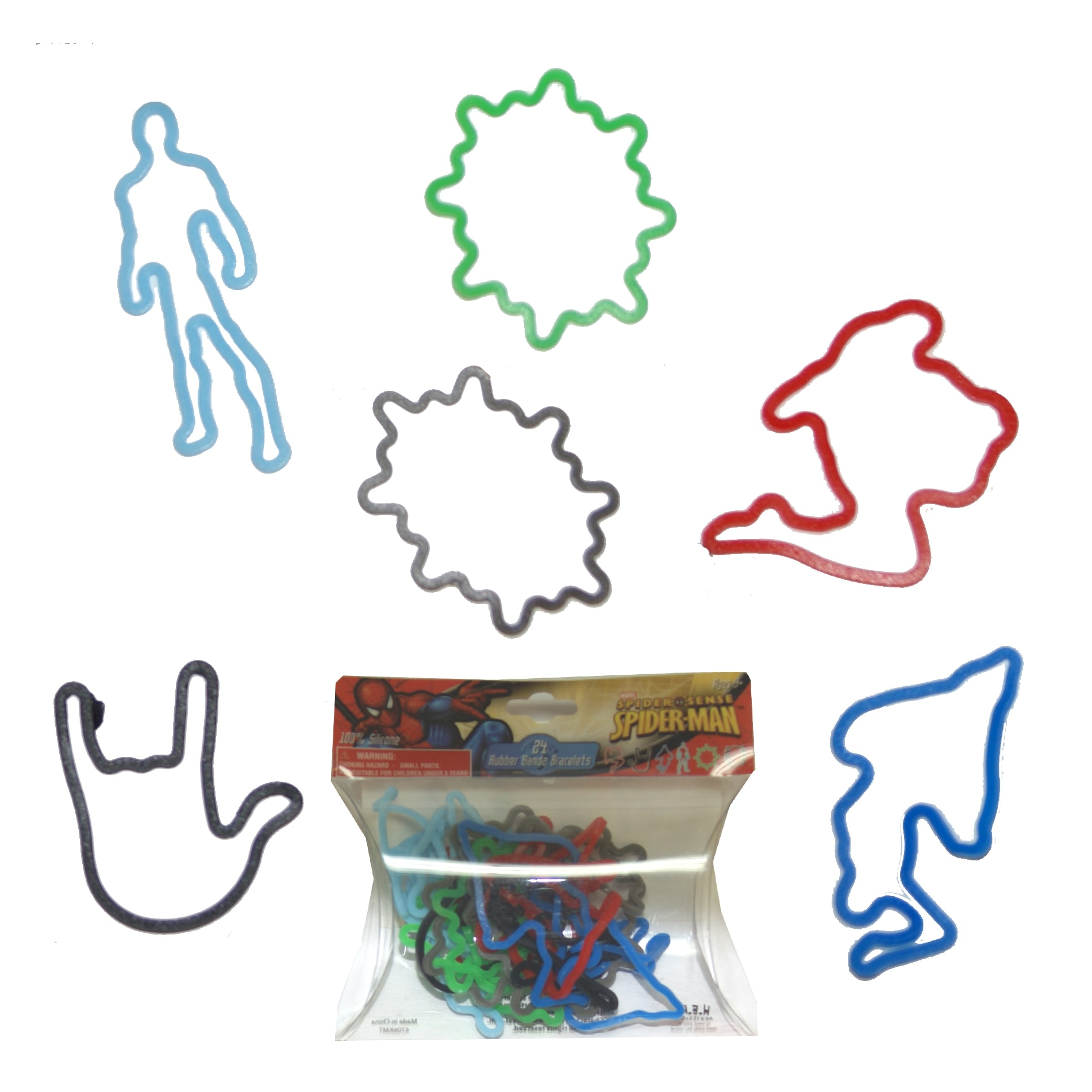 Spider man multicolored silicone rubber bracelet bandz 24 for Four man rubber life craft