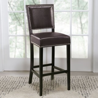 Abbyson Living Napa Brown Leather Bar Stool