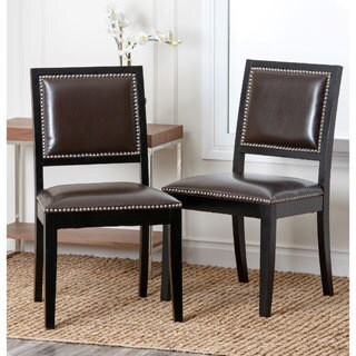 Abbyson Living Monaco Brown Leather Dining Chairs (Set of 2)