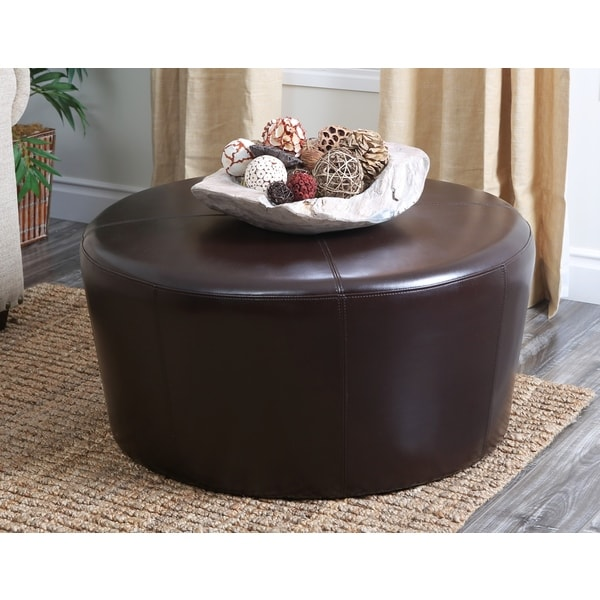 Abbyson Living Montgomery Dark Brown Leather Round Ottoman